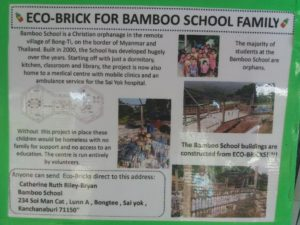 photo of a leaflet with information about the bamboo school project