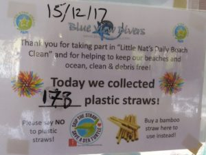 Photo of an awareness how many plastic straws were collected on the island that day