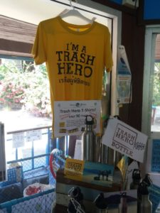 photo of trash hero t-shirts and stainless steel waterbottles for sale